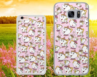DISNEY INSPIRED Mrs Potts and Chip Beauty and the Beast Pink PATTERN Phone Case Cover for iPhone and Samsung Models - Safe Tracked Postage