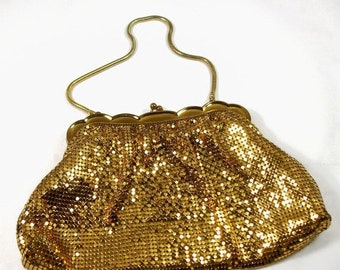 Memorial Day Sale Vintage 1940's Whiting & Davis Gold Mesh Clutch Evening Bag Measures 9 Inches Wide x 5-1/2 Inches Tall