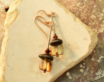 Super fun little olive sea glass dangle earrings with Czech glass tile beads and glinting  crystals funky   eco friendly ocean style