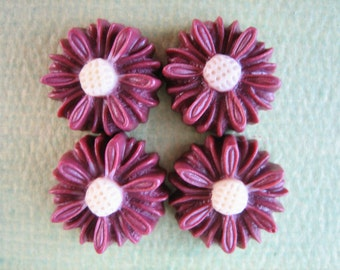 4PCS - Daisy Flower Cabochons - 14mm - Burgundy - Resin Cabochons by ZARDENIA - NEW Arrival