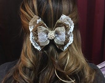 Vintage bow with lace and burlap detailed with pearl and rhinestone