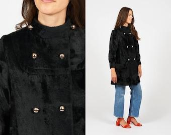 Vintage 60s Faux Fur Black Coat Double Breasted Jacket