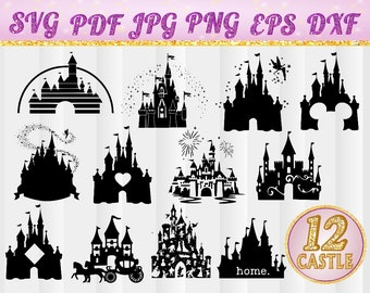 Castle,Disney Castle SVG,Heart,Head Mickey Mouse,Cinderella,Magic Kingdom,Disneyland Silhouette Clipart,Cut Files,,svg,jpg,pdf,png,dxf,eps,5