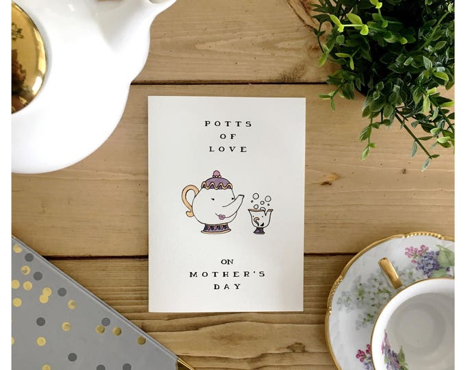 Featured listing image: Mother's Day Card // funny mothers day card, card for mom, funny card for mom, tea, tea pun, beauty and the beast, mom pun, pun card, punny