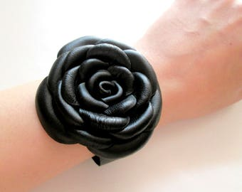 Black Leather Bracelet Leather Roses Leather Flowers Cuff Bracelet For Woman Gift Idea For Her Leather Jewelry Design