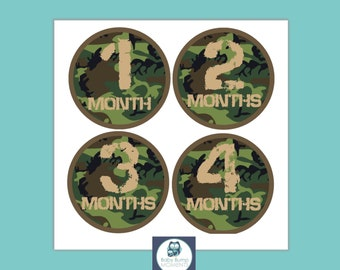 Baby Milestone Stickers, Monthly Baby Stickers Boy, Age Stickers, Baby Monthly Milestone, Camo Camouflage