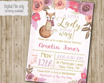 Fox Baby Shower Invitation, Floral Fox Baby Shower, Gold Glitter Fox, Woodland Baby Shower, Fox Theme Baby Shower, Baby Shower Invitation