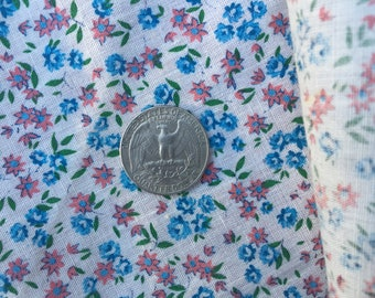 QQ Deep Pink Blue White Mini Floral Calico Cotton Fabric Yardage