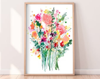 Bouquet of Wildflowers Modern Watercolor Print Floral Home Decor Flower Painting Nature Prints CreativeIngrid