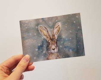 Snowflake hare greetings card