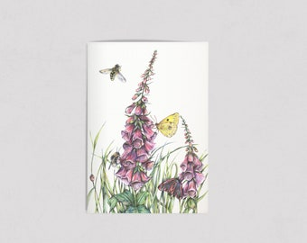 Illustrated Foxgloves A6 notebook