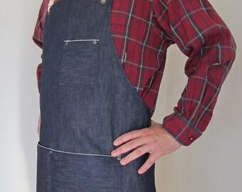 Denim Apron Man-  Cone Mills- Selvedge Denim-Red Line Selvage-Utility-Crafts-Gardening-Man