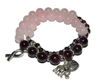 Garnet and Rose Quartz - Stretch Bracelet -  Mala Bracelet
