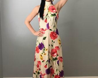vintage 70s TONI TODD floral maxi dress | sleeveless halter dress | high neck dress