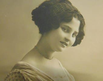 Beautiful Demure Girl with Choker Necklace Antique Vintage Sepia Photograph