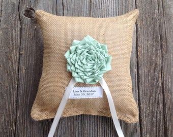 Ring Bearer Pillow, Wedding Ring Pillow, Burlap Wedding,  Personalized Wedding, Mint Wedding, Wedding Pillow, Wedding Cushion, Mint Flower