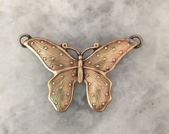 """Butterfly Pendant, Soldered Brass  1+3/4"""" or Silver Pewter, Backfilled"""