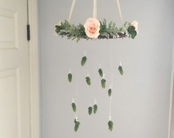 Flower Mobile, Succulent Mobile, Woodland Mobile, Fanciful Mobile, Fairy Nursery, Woodland Nursery, Modern Mobile, Rustic Floral Mobile