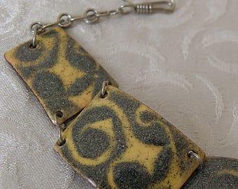 Copper Enamel Bracelet Mustard and Green
