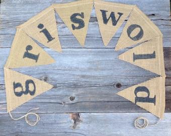 Custom Name Banner - Wedding Banner - Baby Decor - Personalized Banner -nursery decor - photo prop - sign -burlap banner - pennants