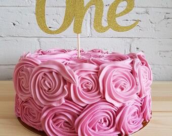 1st birthday cake topper. One cake topper gold. DOUBLE SIDED. Gold one cake topper. First birthday cake topper. Cake topper One.