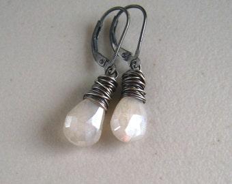 White Stone Earrings, Pearl Chalcedony, Sterling Silver, Wire Wrapped Snow White Earring, Minimalist Jewelry, Chalcedony Dangle Earrings