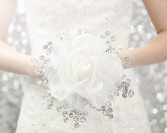 Bridal Bouquet - White Rose Bridal Bouquet and Mirrored Beads - Glamelia Compostite Wedding Bouquet - Fabulous Brooch Bouquet Alternative