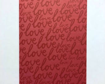 "Red ""Love"" Script - Travelers Notebook Laminated Dashboard - B6 size"