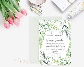 Printable Bridal Shower Invitation /  Shower Invite, Wedding Shower, Boho Bridal Shower Invitation - The Garden Party Invitation