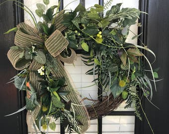 Wreath, Grapevine, Greenery, Frontdoor or Mantel