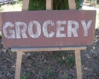 Rustic grocery sign/red/kitchen/kitchen decor