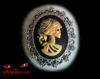 Goth Skull Cameo Girl Day of the Dead Brooch or Pin in Black and Ivory Silver-tone Vintage Frame