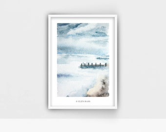 Watercolor Seascape, Watercolor Landscape Painting, Watercolor nature print, Blue Landscape Art, Nature painting, Watercolor art