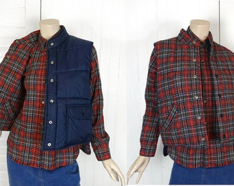 80s Puffy Vest & Flannel Shirt- Red + Navy Tartan Plaid- 1980s Vintage Wool- Small- Hunting Camping Rugged Woods Outdoors Punk New Wave