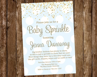 Blue and Gold Baby Sprinkle Invitation, Baby Boy Sprinkle, Baby Shower, Invitation -  Digital or Printed