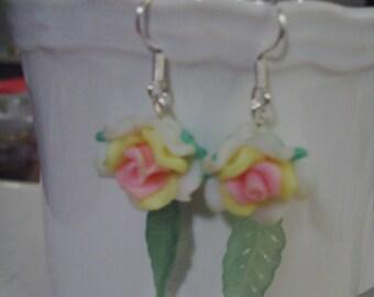 White Rose Earrings - Free Shipping