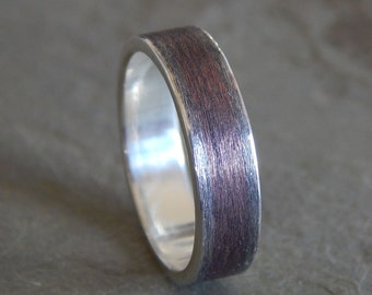 5-8 mm RUSTIC TEXTURED Silver & Copper Band // Mens Wedding Band // Womens Wedding Band // Silver Wedding Band // Copper Wedding Band