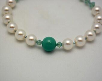 Half Off Jewelry SALE. Swarovski Pearl Bracelet w/ Jade Green Accents & Pacific Opal Swarovski Crystals. Pewter Clasp. Handmade Jewelry.