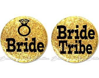 Bachelorette Party Favors, Bachelorette Party Gift, Bride Tribe Pins, Gold Glitter Bachelorette Bridal Party, Bride Tribe Party -BB1811