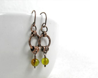 Genuine Green Amber Hoop Earrings, Hammered Copper Earrings, Amber Earrings, Gemstone Earrings, Boho Earrings, Gift for Her, Dangle Earrings
