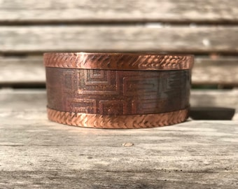 Shimmery Flame Painted Copper Cuff Bracelet | Wide Fold Formed Copper Cuff | Textured Copper Cuff Bracelet | Patterned Copper Cuff