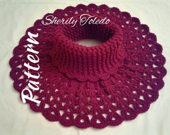 PATTERN - Split Shell Neck Warmer - Crochet Turtleneck warmer