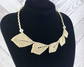 Macrame Leaves Necklace, Macrame Bridal Necklace, Bridal Statement Necklace, Statement Necklace, Macrame Jewellery, Bridal Jewellery, Gift