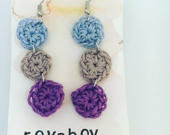 Crochet dangle drop circle blue purple grey earrings bridesmaid valentines day Mother's Day gift for her