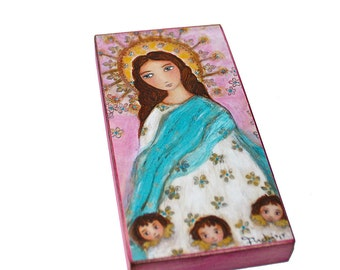 Immaculate Conception with Angels -  Giclee print mounted on Wood (3 x 6 inches) Folk Art  by FLOR LARIOS