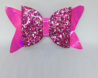 3.5 inch holographic pink and mixed pink glitter hair bow