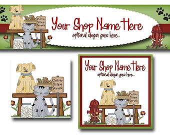 Premade Etsy Cover Photo  - Large Etsy Banner - Etsy Shop Banner - Shop Icon - Dogs - Cats - Biscuits - Fire Hydrant - Paw Prints