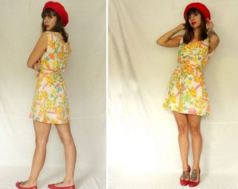 1960's Floral Mini Belted Dress - Psychedelic Floral Mini Dress #1434