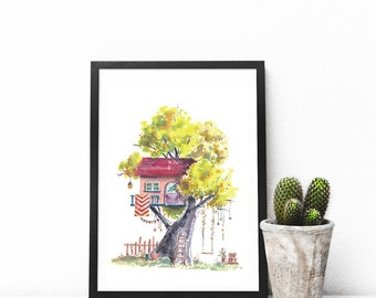Treehouse Series 27 Watercolor Art Print - Digital Download
