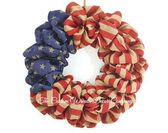 """20"""" Patriotic Wreath, Patriotic Burlap Wreath, Burlap Flag Wreath, Rustic Patriotic Wreath"""